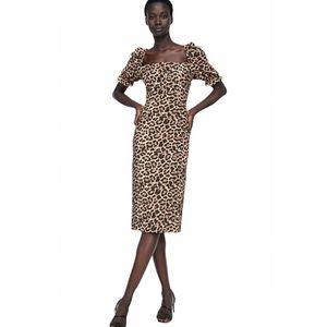 Zara Leopard Puff Sleeve Square Neck Midi Dress